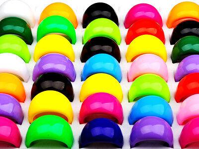 Wholesale 30pcs Bulk Lots Multi Candy Color Resin Lucite Chunky Men Womens Rings