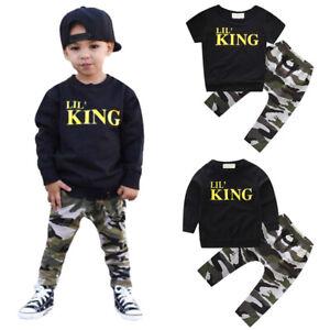 Kid Baby мальчиков король печать хип-хоп спортивный костюм наряды, футболка, топы брюки спортивная одежда