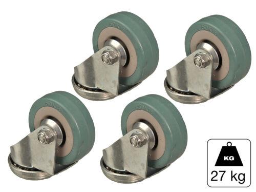 4x Lenkrolle mit Rückenloch Vollgummi Ø 50mm max 27kg   Rolle Möbelrolle Gummi