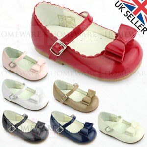 87a5a9a2bdb Details about BABY GIRLS SPANISH STYLE BOW SHOES MARY JANE PINK WHITE RED  CAMEL IVORY BLACK