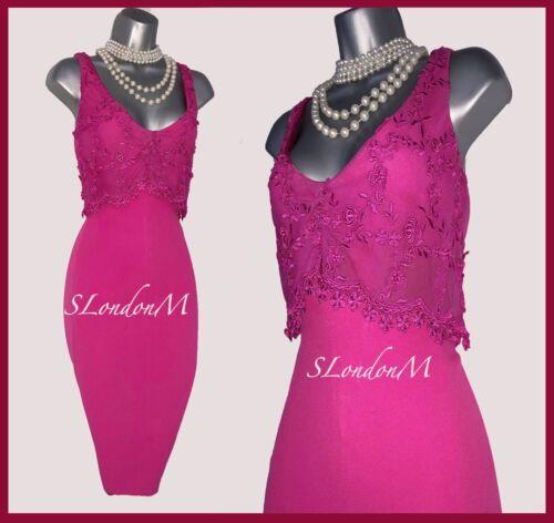 Millen 12 Pink Hot Karen Dress Pencil Cocktail Party Prom V Floral Lace Uk Neck ZwEggqfd