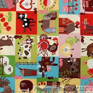 BonEful-FABRIC-FQ-Cotton-Quilt-Block-Farm-Barn-Kitchen-Rooster-Horse-Owl-Cow-Pig