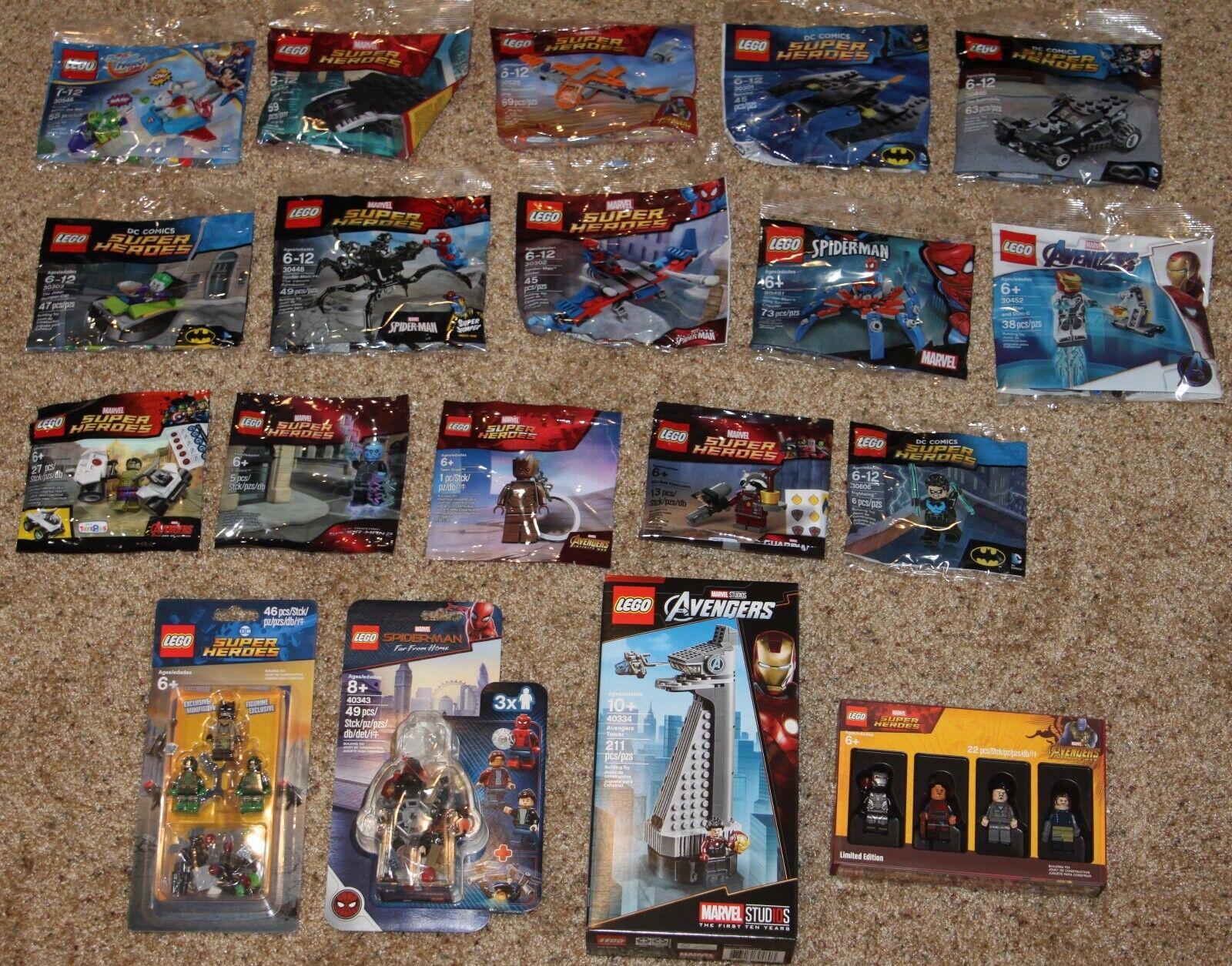 19 Lego Marvel DC Polyborsa Lot 5005256 40334 5003084 8530448 30452 30606