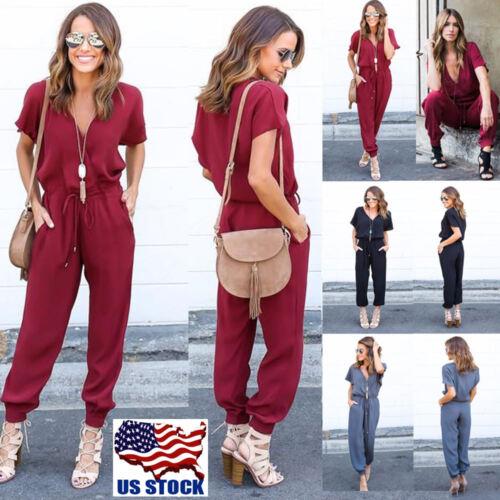 Women/'s Bodycon Deep V-Neck Short Sleeve Playsuit Romper Jumpsuit Pants Clubwear