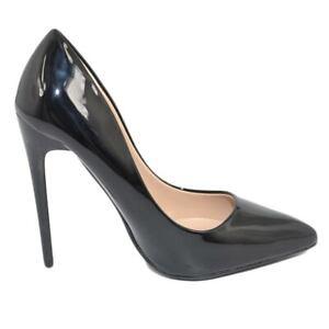 Decollete' donna a punta nero tacco a spillo 12 cm vernice comode lucido scarpe