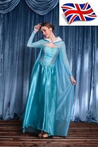 UK-Seller-Sale-Fairy-Adult-Ladies-Frozen-Snow-Princess-Elsa-Fancy-Dress-UK-8-14