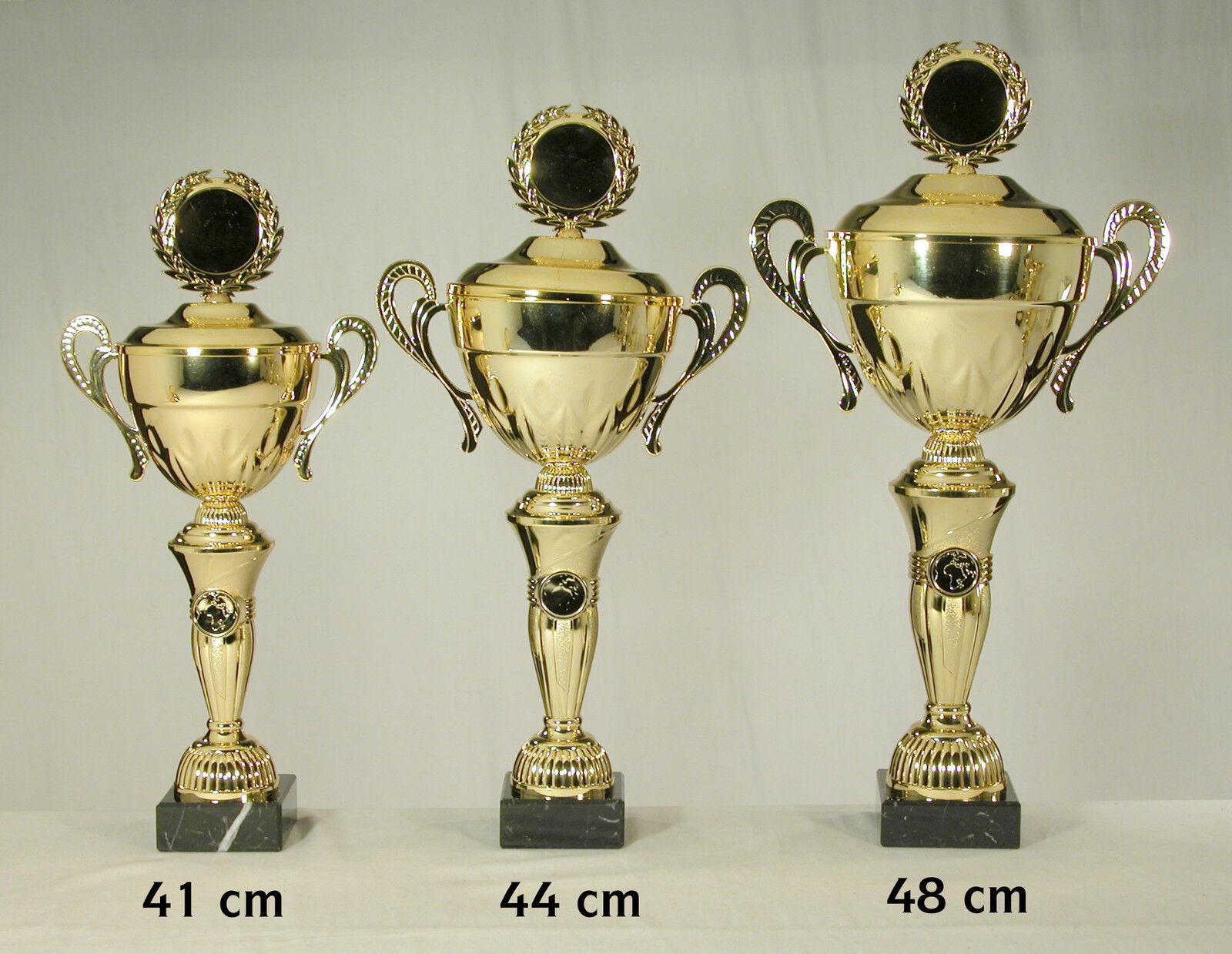 3x Goldfarbene Pokale 48 - 44 - 41 41 41 cm mit Text und Emblem zum SONDERPREIS 5c401e