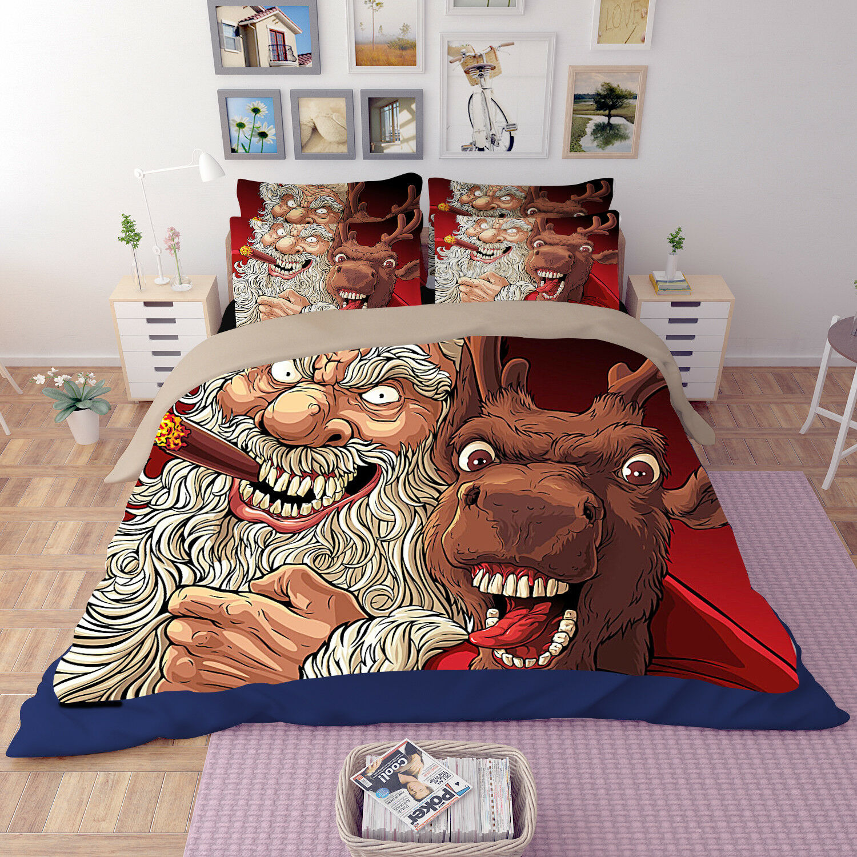 3D Deer Elderly 677 Bed Pillowcases Quilt Duvet Cover Set Single Queen AU Carly