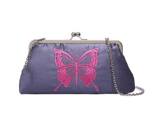 New-Chic-Women-039-s-Vintage-Embroidered-Butterfly-Clutch-Bag-Navy-25x13x5cm