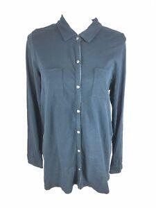 3465569ba6d91 Details about J Jill Womens Button Front Blouse Top M Medium Navy Blue Long  Sleeve Euc