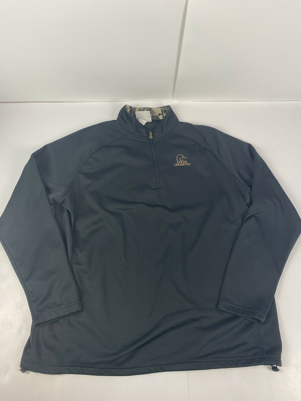 Ducks Unlimited 75th Anniversary Men's 1/4 Zip Pullover, Color: Black, Size XL