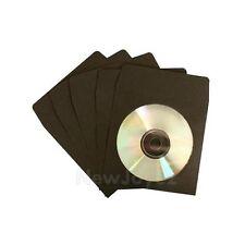 1000 Black CD DVD Paper Sleeve Envelope w/ Window Flap