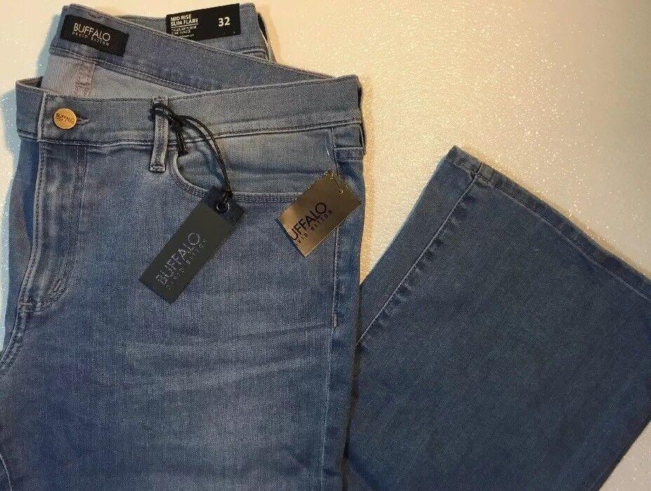 NEW BUFFALO bluee Jeans Size 14  32 Large Distress Fade Wash Slim Flare Leg Pants