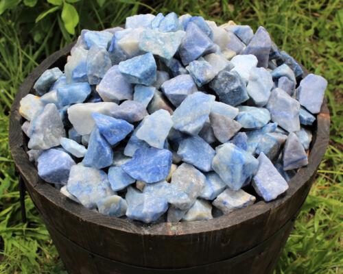 1 Piece of Natural Blue Quartz Rough Crystal Gemstone Raw Tumbler Cabbing Rock