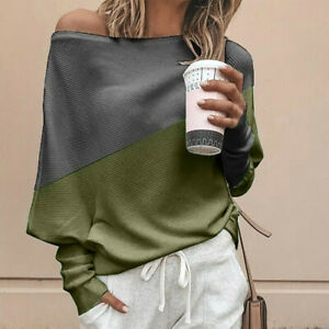 Women-Off-Shoulder-Knitted-Blouse-Pullover-Loose-Batwing-Long-Sleeve-Sweater-Top