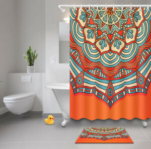 orange floral shower curtain. Image Is Loading Orange Mandala Floral Shower Curtain  Waterproof Fabric Bathroom