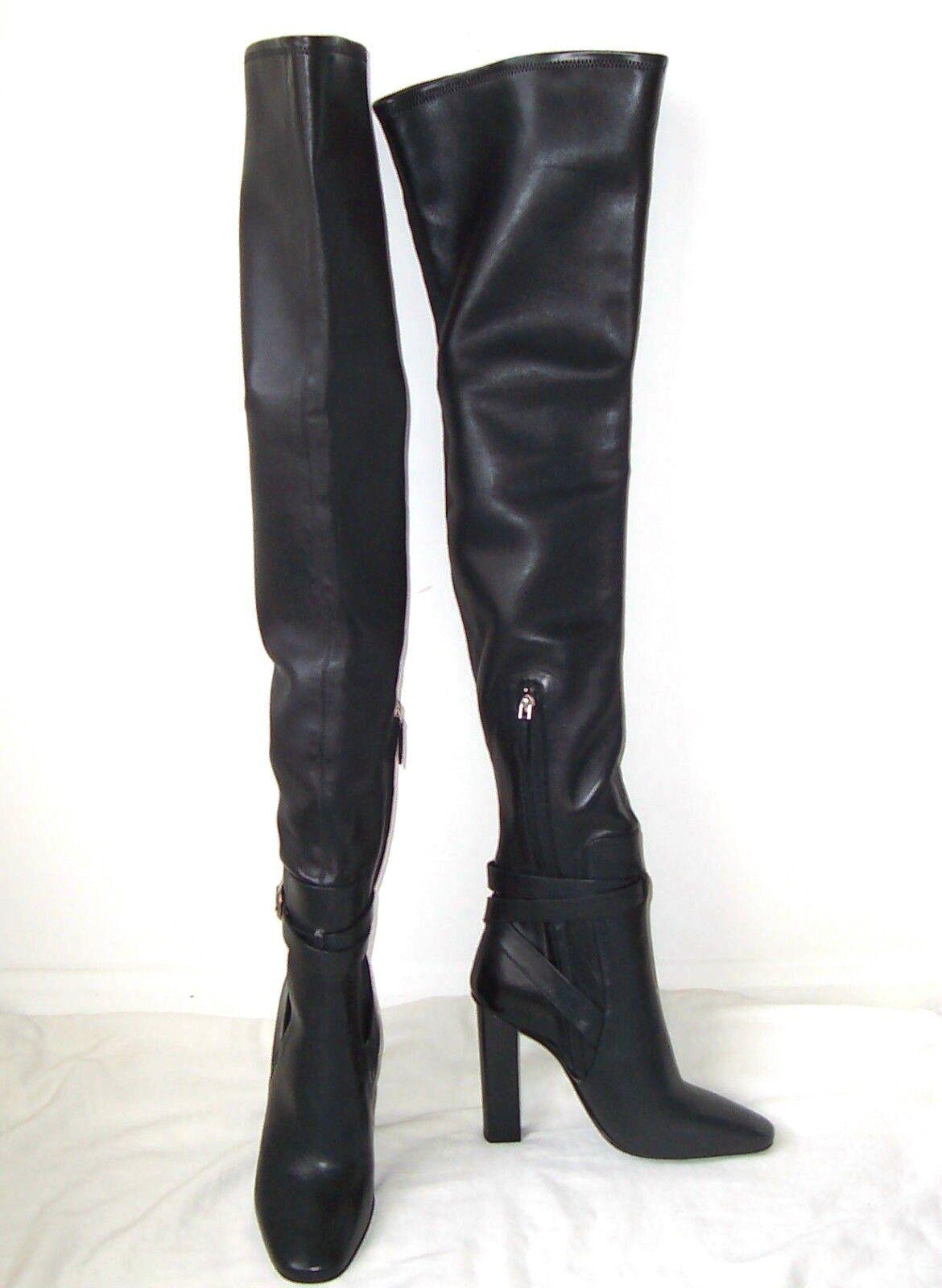 Emilio elástico Pucci Negro botas De Cuero OTK muslo elástico Emilio 40 10 479a8b
