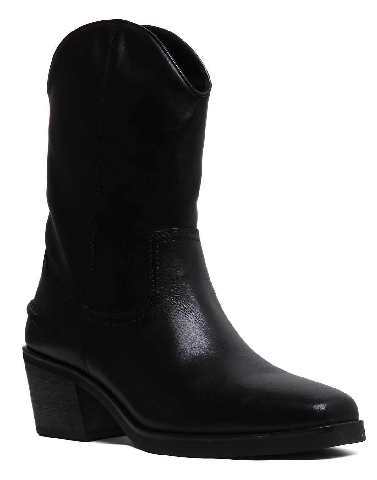 Vagabond Simone Femme Cuir Noir Bottes Western Taille UK 3 - 8