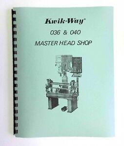 kwik way model 036 040 seat and guide machine manual ebay rh ebay com Kwik-Way Tool Kit Kwik Way Valve Seat Grinder