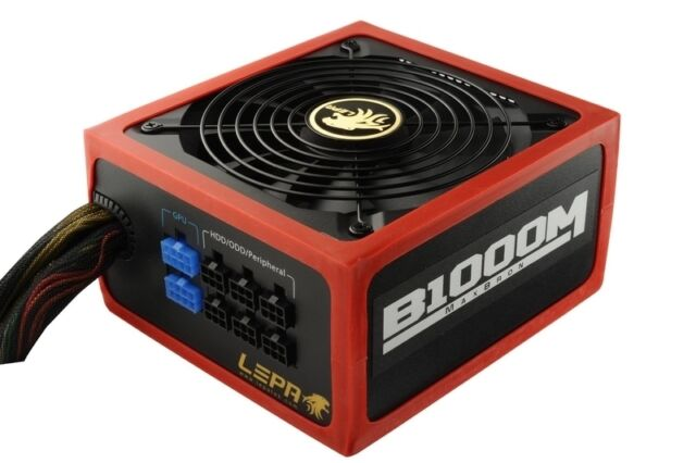 LEPA MaxBron 1000W 82+ATX Hybrid modular/single +12V B1000-MB Power Supply NEW