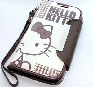 For-Samsung-Galaxy-S4-BROWN-HELLO-KITTY-LEATHER-WALLET-POUCH-CASE-COVER