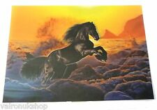 3 D POSTER FEATURING A BLACK HORSE IN SURF
