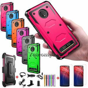 Motorola MOTO Z4 Play,Z3 Play,Z2 Force Phone Case Hybrid Belt Clip Holster Cover