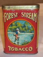 1920's~FOREST AND STREAM TOBACCO ADVERTISING VEST POCKET TIN w/FLY FISHERMAN PIC