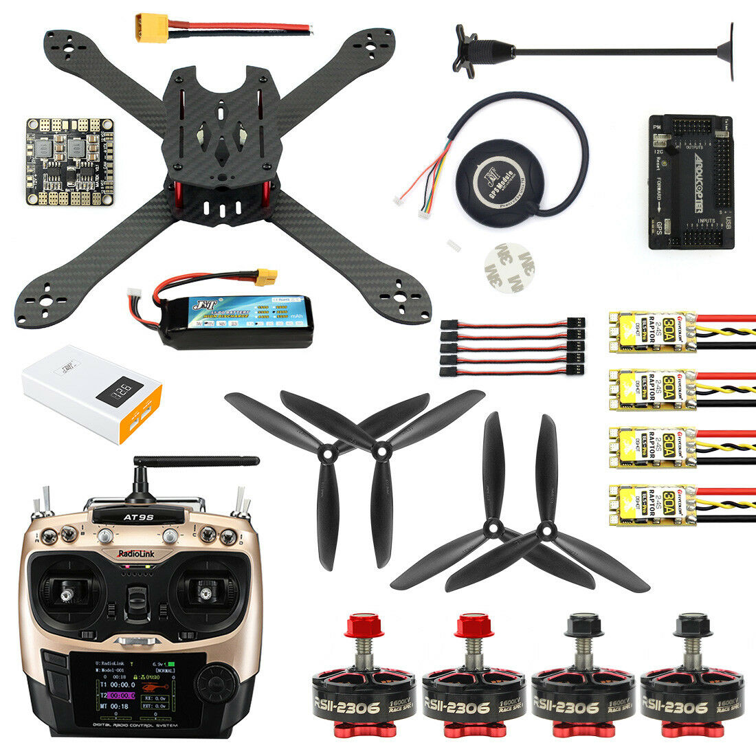 disponibile JMT 2.4G 10CH 300mm Brushless GPS Drone Drone Drone APM 2.8 DIY Combo Kit  RC Quadcopter  tempo libero