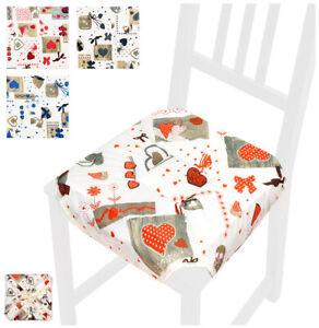 Dettagli su Cuscino coprisedia CUORI universale casa cucina copri sedie cotone alette lacci