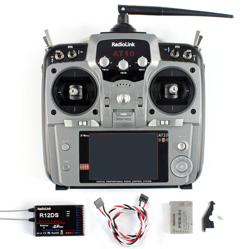RadioLink 2.4G AT10II 12CH  RC Transmitter With R12DS Receiver For RC Helicopter  in vendita scontato del 70%