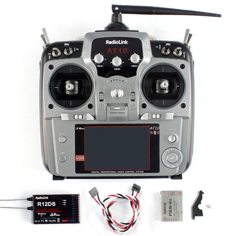 RadioLink 2.4G AT10II Radio Control 12CH Transmisor con Receptor R12DS para helicóptero A Control Remoto