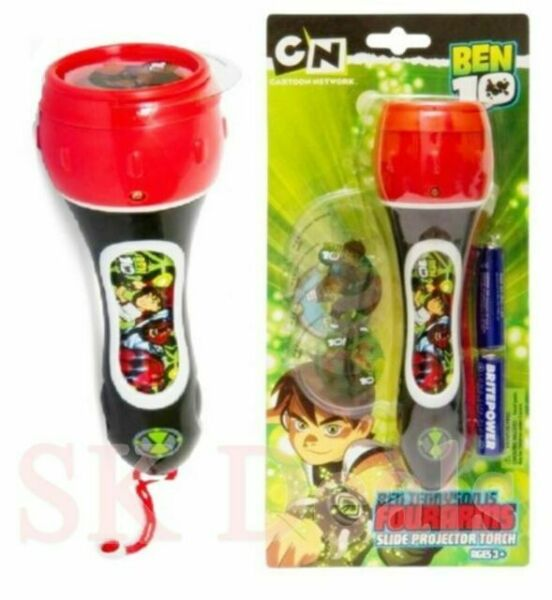 AGE 3+ PROJECTOR TORCH CARTOON NETWORK LAMP CAMPING BEN 10 TORCH SLIDE