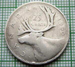 CANADA-GEORGE-VI-1950-25-CENTS-CARIBOU-SILVER