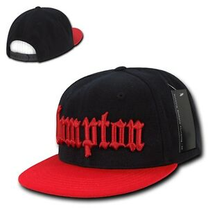 Black   Red Compton Vintage Embroidered Hip Hop Flat Bill Snapback ... 05ff15a5eabe