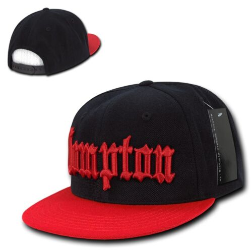 2497fef3766 Black   Red Compton Vintage Embroidered Hip Hop Flat Bill Snapback ...