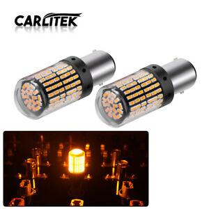 2x-1157-P21W-BAY15D-LED-Amber-Canbus-3014-144SMD-Error-Free-Car-Brake-Light-Blub