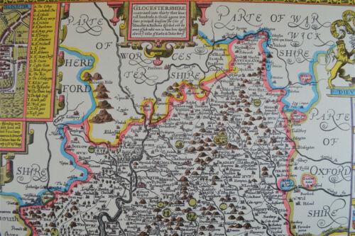 Vintage decorative sheet map of Gloucestershire John Speede 1610 town plan