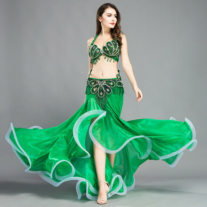 New Belly Dance Costume Outfit Set Bra Belt Skirt Dress Bollywood Carnival 3PCS