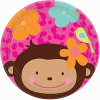 Pink Mod 'monkey Love' Plates Assiettes Birthday Party Supplies