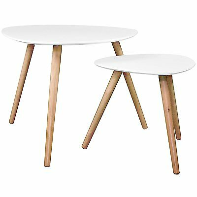 Lot de 2 Tables Basses Gigognes Blanc - PM: H40x40x40cm / GM: H48x60x60cm