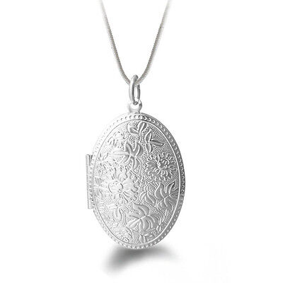 Fashion Jewelry Snake Chain Flower Pendant Necklace Silver Plated Round Locket