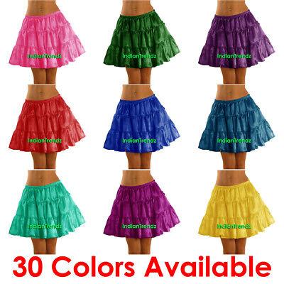 Women Girl Satin Short Mini Dress Tiered Skirt Pleated Retro Elastic Ruffle Club