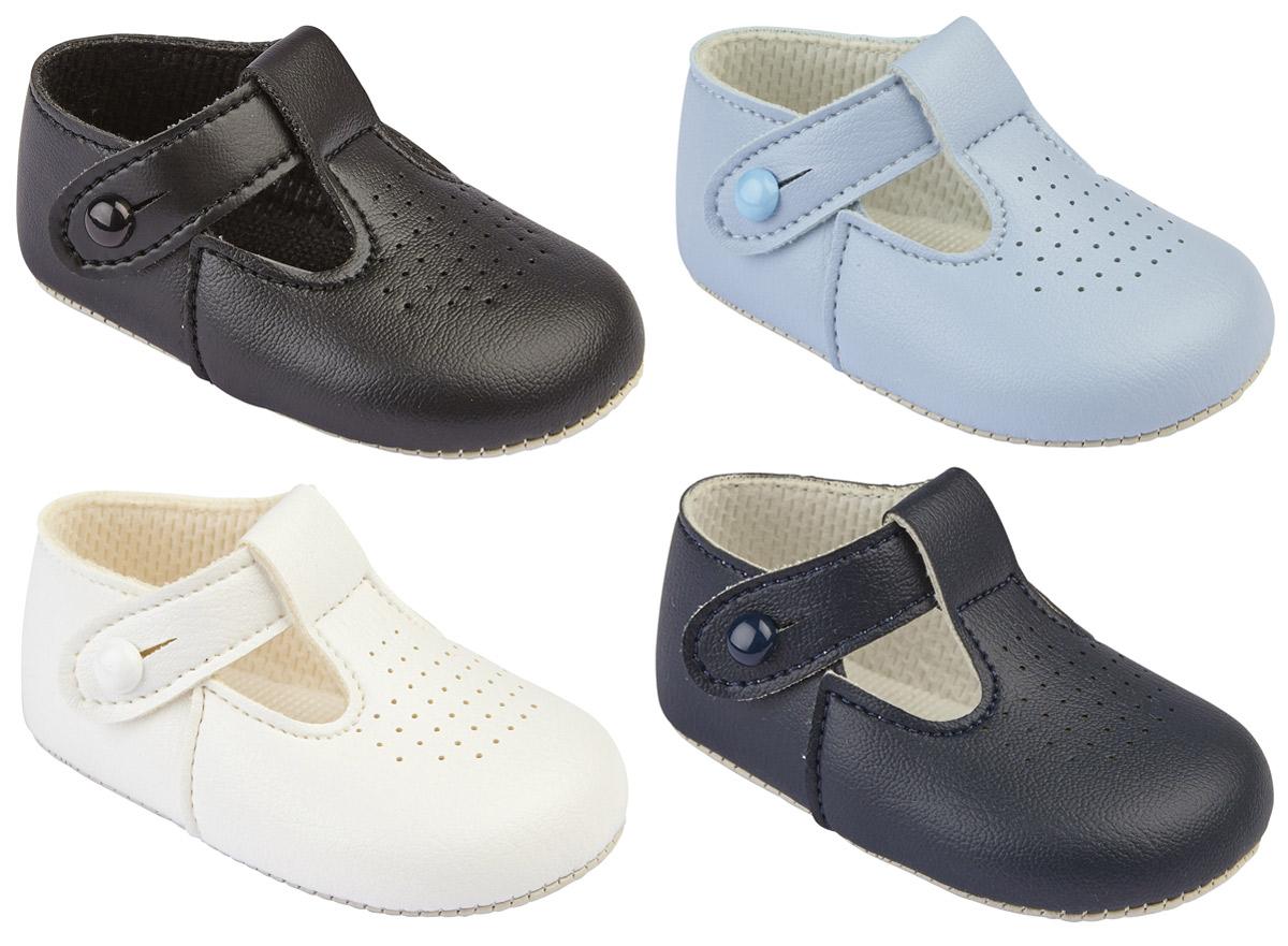 Handmade T-Bar Baby Pram Shoes Blue Newborn 0-3 or 3-6 months