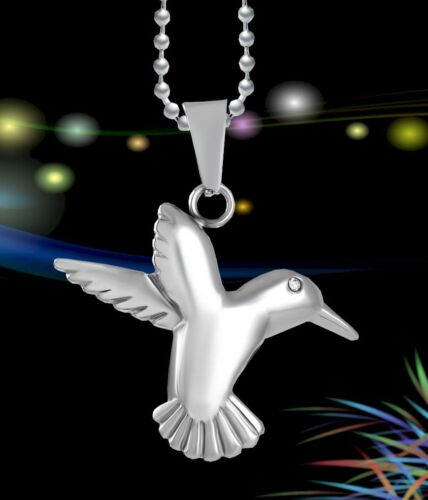 Nouveau Hummingbird Crémation Oiseau Pendentif Ash Holder Silver Memorial Collier