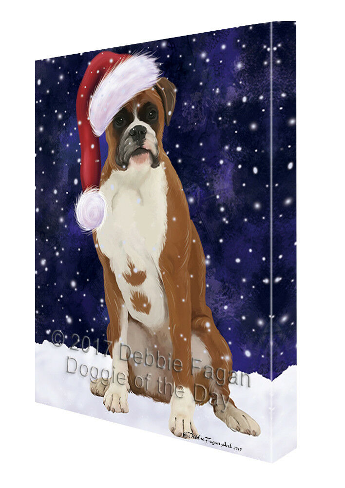 Let it Snow Christmas Holiday Boxer Dog Canvas Wall Art T10