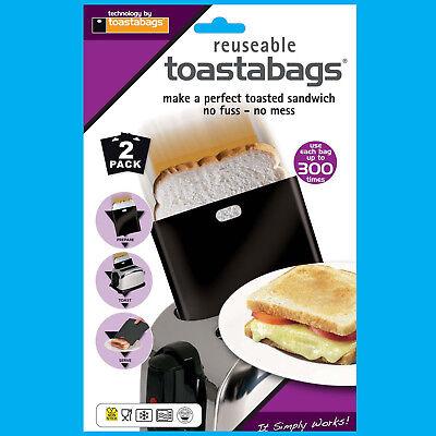4x 300 Volte Riutilizzabile Toastabags Nessun Disordine Tostapane Tostie Sandwich Sacchetti-