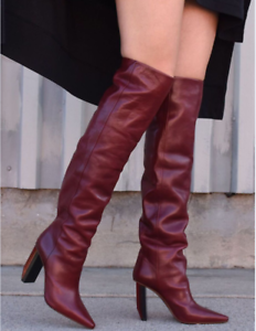 VETEMENTS-REFLECTOR-DARK-RED-LEATHER-SLOUCH-OVER-THE-KNEE-BOOTS-EU-40-US-10
