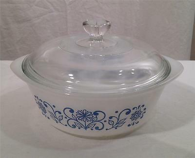 Vintage Glasbake USA 1 Quart White Blue Floral Round Casserole Dish w Lid J510