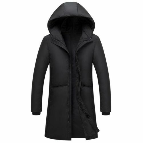 Men/'s Winter Duck Down Hooded Coat Quilted Padded Long Jacket Warm Parka Outwear